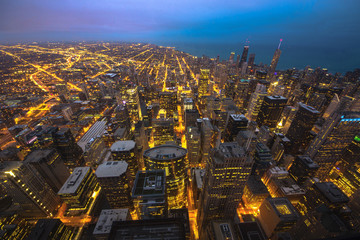 Fototapete - Chicago skyline aerial view at dusk, United States