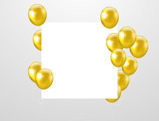 gold balloons, vector illustration. Confetti and ribbons, Celebration background template with.