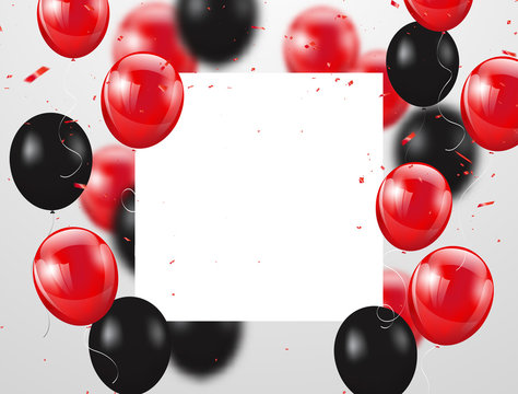 red and black balloons, vector illustration. Confetti and ribbons, Celebration background template with.