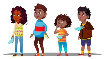 African Children Waiting In Line With Empty Plates For Social Dinner Vector. Isolated Illustration