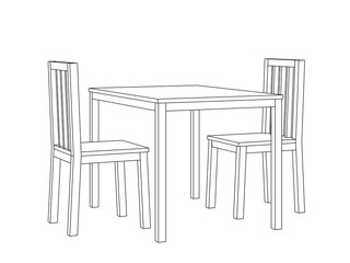 Simple line art perspective view vector of a dining table and two chairs.