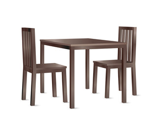 Realistic perspective view vector of a wooden dining table and two chairs.
