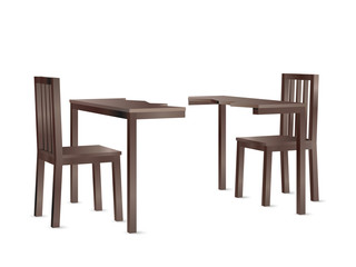 Realistic perspective view vector of a divided wooden dining table and two chairs depicting a dispute.