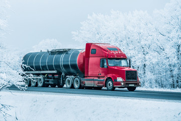winter road transportation fuel tanker truck.