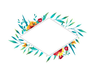 Watercolor blue and yellow rhomb frame with flowers, leaves and branches. Hand drawn illustration.