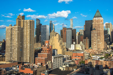 Wall Mural - New York City. Wonderful panoramic aerial view of Manhattan Midtown Skyscrapers.
