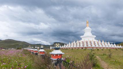 Buddhist white pagoda in Daocheng, Ganzi, Sichuan, China