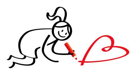 Strichmännchen Frau malt rotes Herz