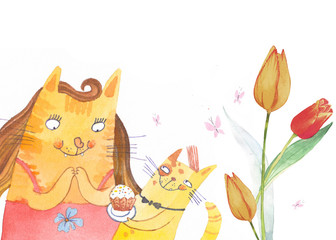watercolor spring illustration with cat and cake. flower background. Mother's day.