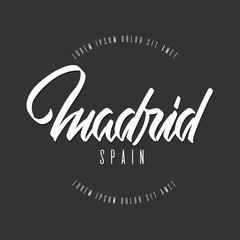 Handwritten lettering, phrase for design.Design element.Spain.Madrid.