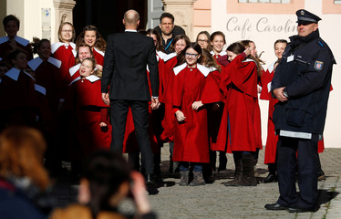 Children's choir warms up during the anniversary festivities marking 100 years of the Weimar Constitution, in Weimar