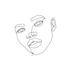 abstract face one line drawing. Portrait minimalistic style . One line. Single line drawing.