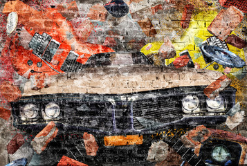 Collage with car in grunge style on a brick wall