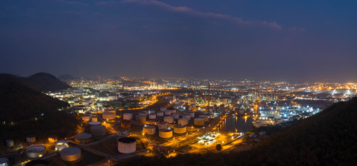 Aerial view. oil refinery factory and Oil industry at twilight. Petrochemical Industrial. Panorama