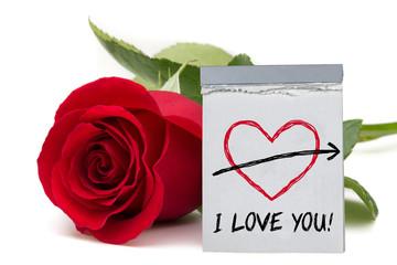 I love you! / rose with calendar