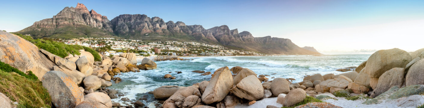 "Panorama of Camps Bay with the mountain range ""the 12 Apostles"""