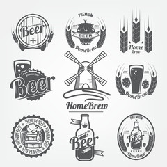 set of logos of beer. homebrew, a natural product with high quality grain, raster copy