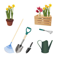 Garden accessories illustration.