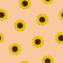 Seamless pattern yellow Sunflower on beige, vector eps 10