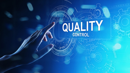 Quality control, assurance, industry standards concept on virtual screen.