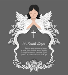 Angel with lace rose funeral card by hand drawing.Flower vector art highly detailed in line art style.