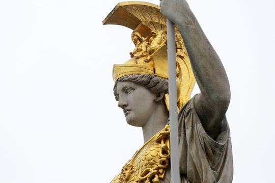 Pallas Athene greek goddess of wisdom in front of Austrian parliament, Vienna, Austria