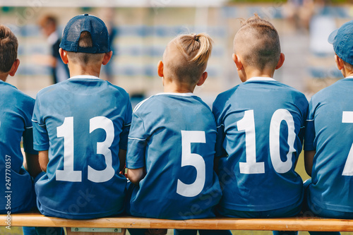 Boys Sitting on Soccer Football Wooden Bench  Kids Football