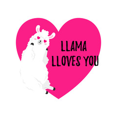 Vector cartoon card. Sweet llama. Doodle illustration. Template, background for print, design. Romantic greetings Happy Valentine s Day