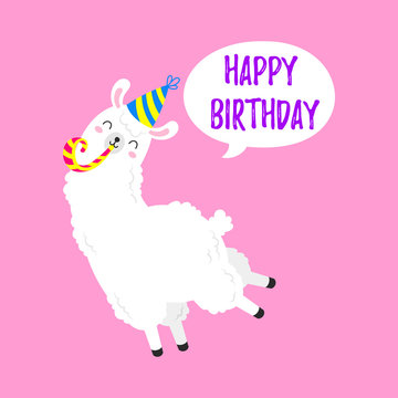 Birthday vector cartoon greeting card design. Doodle illustration. Template, background for print, design. Funny poster with funny lamas. Happy birthday party
