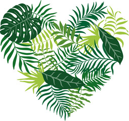 Vector illustration with tropical leaves drawn in the shape of a heart. Without background