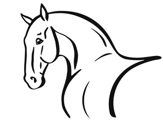 Horse head shape outline