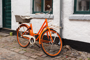 Orange Bicycle on the Street