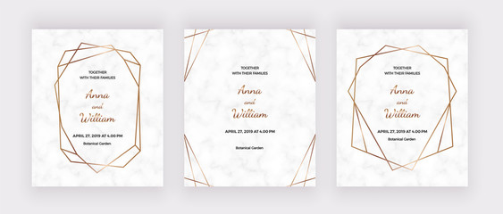 Marble wedding invatation cards with golden polygonal geometric lines frames. Trendy templates for banner, flyer, poster, save the date, greeting