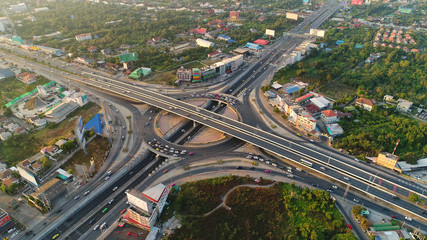 Of traffic on city streets in Thailand. Aerial view and top view Expressway with car lots.