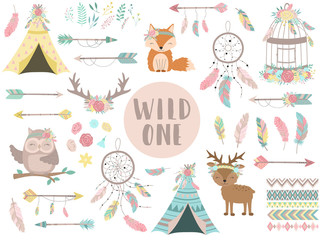 Wall Murals Boho Style Ð¡ollection of hand-drawn boho style icons. The image of animals, arrows, feathers, flowers, wigwam, dreamcatcher. Vector by national american motifs for baby, cards, flyers, posters, prints, holiday