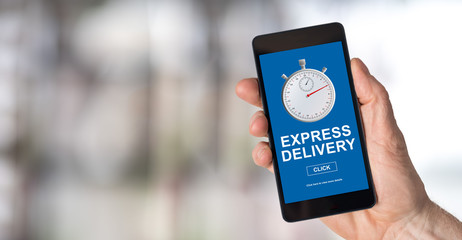 Express delivery concept on a smartphone