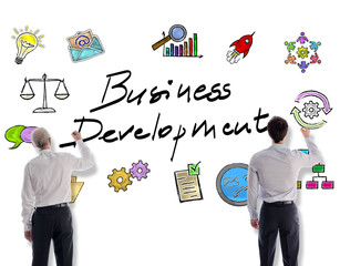 Business development concept drawn by businessmen