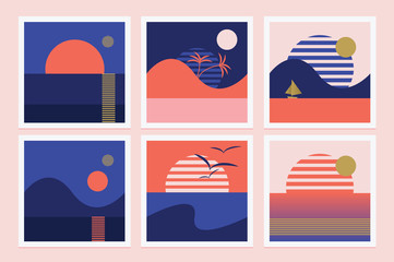 Set of retro illustrations with rising sun and palm trees