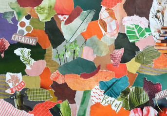 Collage moodboard in seventies style orange green colors made of recycling waste paper results in modern art
