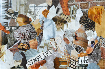 Collage mood board in natural colors made of waste recycle paper results in modern art background