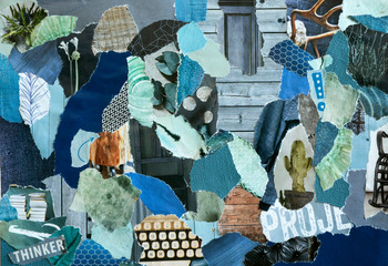 Retro interior blue and green Collage mood board made of recycling teared paper