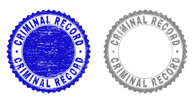 Grunge CRIMINAL RECORD stamps isolated on a white background. Rosette seals with grunge texture in blue and grey colors. Vector rubber stamp imprint of CRIMINAL RECORD text inside round rosette.