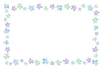花のフレーム 水彩 寒色