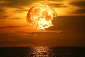 super snow blood moon back on night sky silhouette cloud