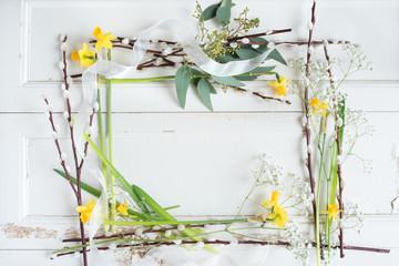 Floral decoration on white vintage table