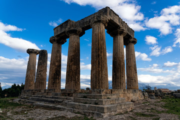 The remains of the Temple of Apollo in the archaeological site of Corinth in Peloponnese, Greece