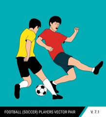 Two football opponents from different teams are fighting for the ball. Soccer players are fighting for the ball.  One player tries to take the ball from another.