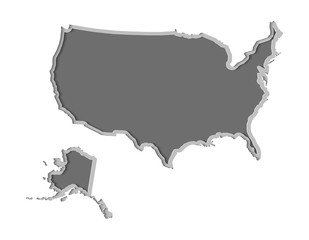 USA map paper cut vector illustration, country isolated on a white background.