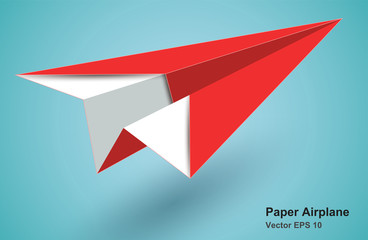 red paper airplane icon - vector EPS10