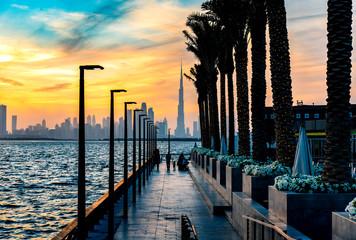Printed roller blinds Dubai Dubai landmark skyline view at sunset